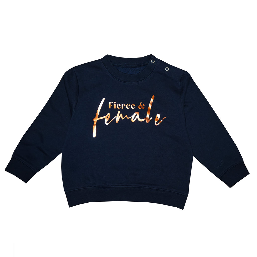 'Fierce and Female' Kids Sweatshirt - Navy/Copper