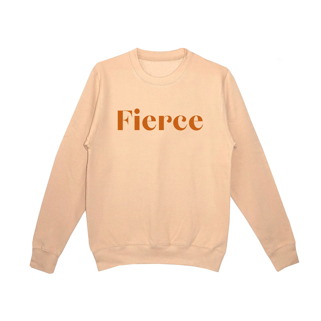 'Fierce' Unisex Fit Sweatshirt - Nude/Copper