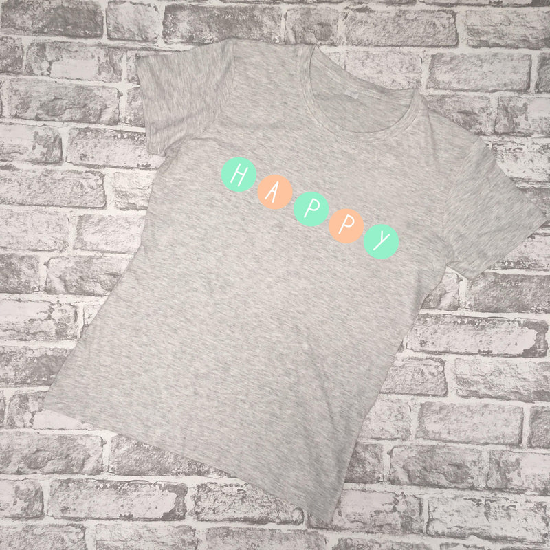 'HAPPY' Circle Ladies T-Shirt