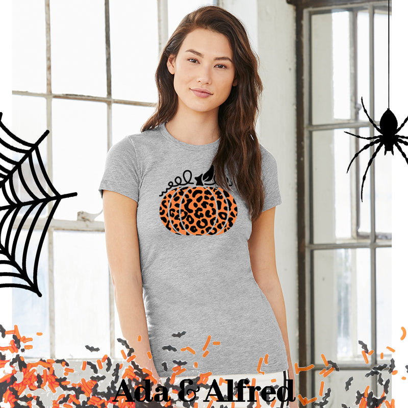 Leopard Pumpkin Ladies T-Shirt