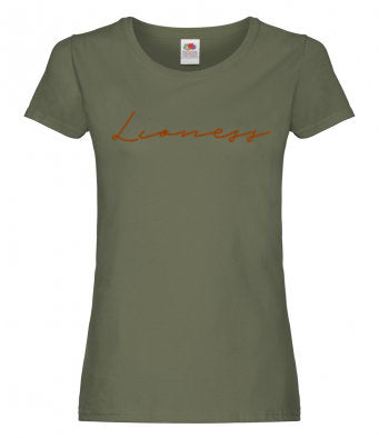 'Lioness' Ladies T-Shirt - Olive/Copper