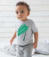 Personalised Monstera Leaf Striped Baby T-Shirt