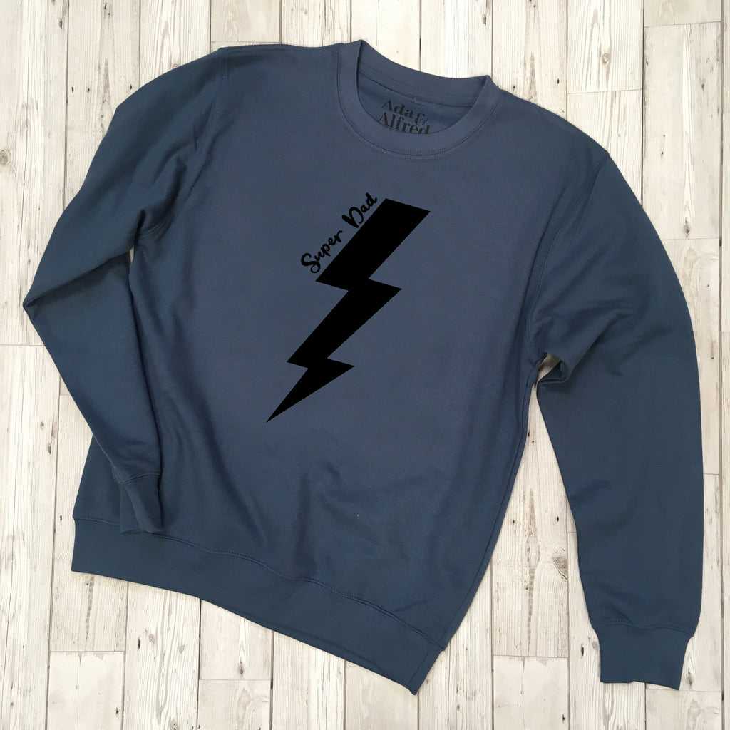 'Super Dad' Lightning Bolt Sweatshirt - Airforce Blue