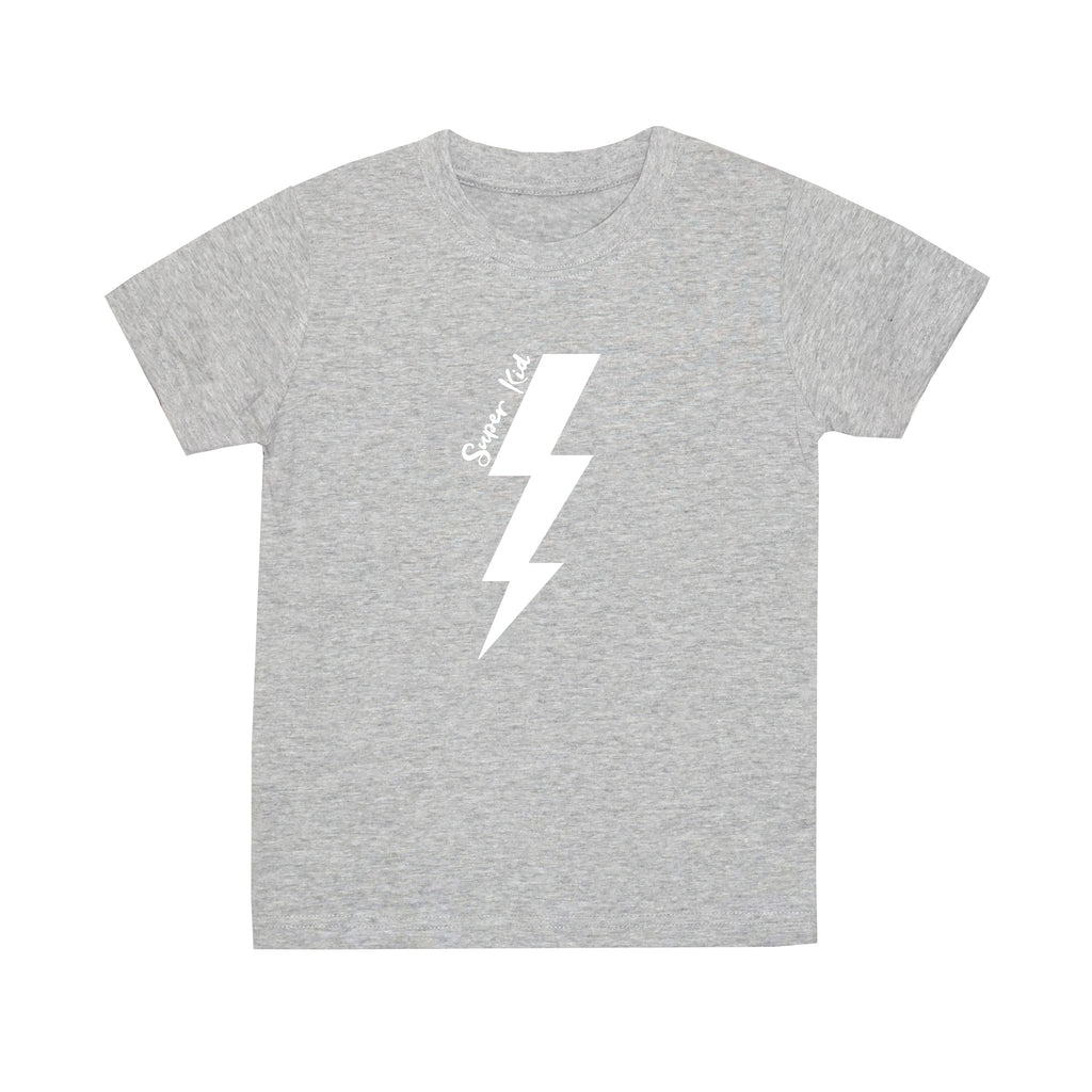 'Super Kid' Lightning T-Shirt - Light Grey*