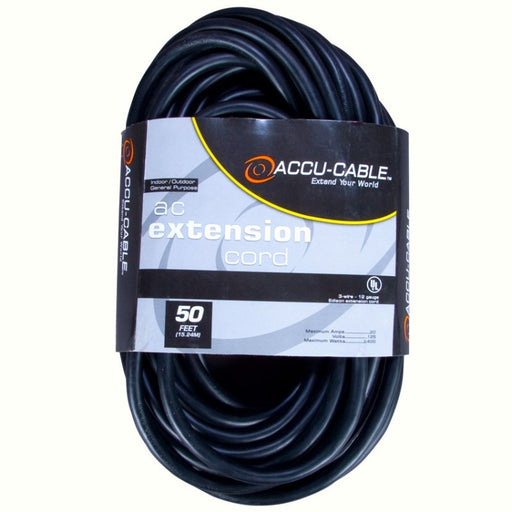 Accu-Cable 50 Foot 16/3 Black Cable w/SingleTap