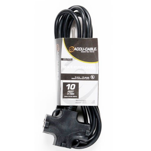 Accu-Cable 10 Foot 16/3 Black AC Cable w/TripleTap