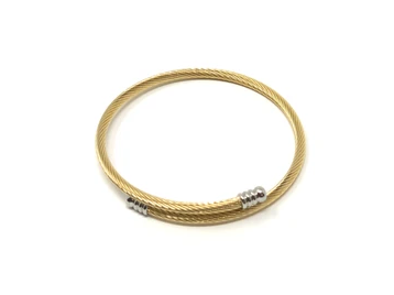 Gold-Plated Twisted Expander Bracelet with Silver Tips
