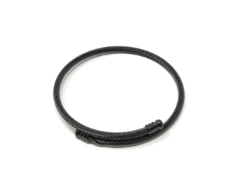 Black Stainless Steel Twisted Expander Bracelet