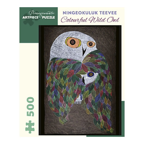 Pomegranate Puzzles - Ningeokuluk Teevee: Colourful Wild Owl (500 pcs)