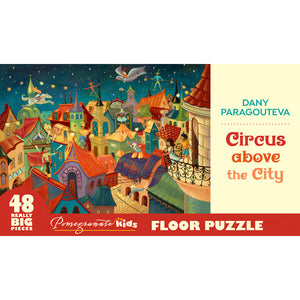 Pomegranate Puzzles - Dany Paragouteva: Circus above the City Floor Puzzle (48 pcs)