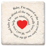 "Tipsy Coasters - Natural Limestone Coaster ""Baby I'm Amazed"""