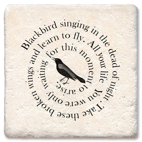 "Tipsy Coasters - Natural Limestone Coaster ""Blackbird Singing"""