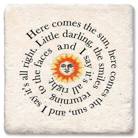"Tipsy Coasters - Natural Limestone Coaster ""Here Comes The Sun"""