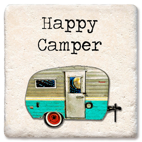 "Tipsy Coasters - Natural Limestone Coaster ""Happy Camper"""