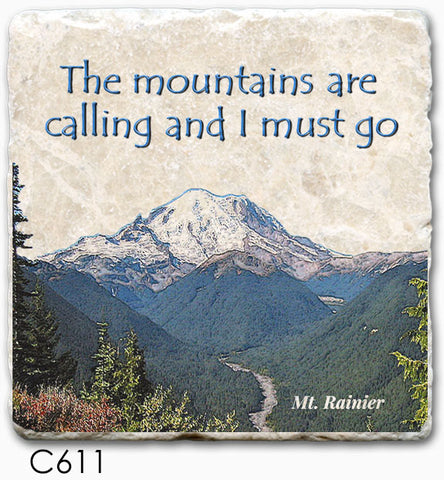 "Tipsy Coasters - Natural Limestone Coaster ""Mountains Calling, Rainier"""