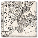 "Tipsy Coasters - Natural Limestone Coaster ""City Map New York"""