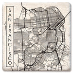 "Tipsy Coasters - Natural Limestone Coaster ""City Map San Francisco"""