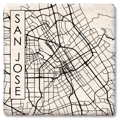 "Tipsy Coasters - Natural Limestone Coaster ""City Map San Jose CA"""