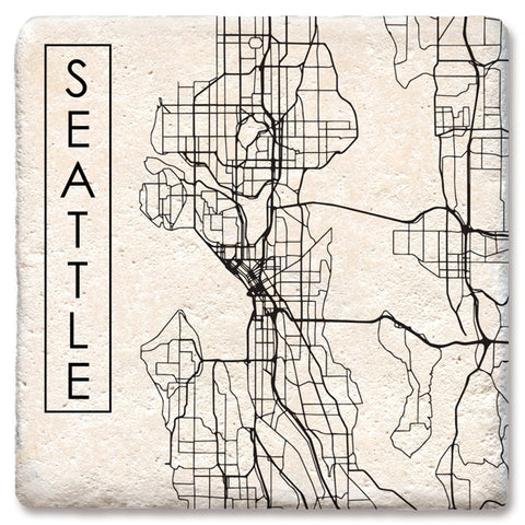 "Tipsy Coasters - Natural Limestone Coaster ""City Map Seattle"""