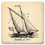 "Tipsy Coasters - Natural Limestone Coaster ""Tartan Ship"""