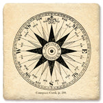 "Tipsy Coasters - Natural Limestone Coaster ""Compass Card"""