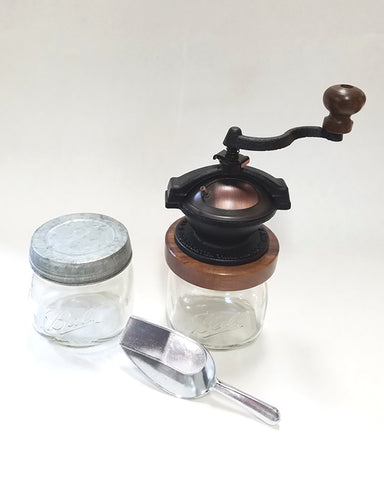 Handcrafted coffee grinder set with scoop and mason jar