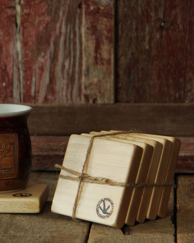 Red Rooster Maple Coasters