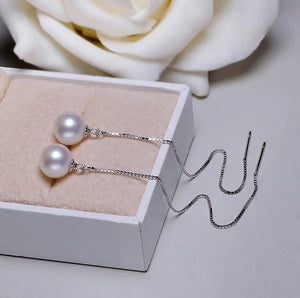 925 Sterling Sliver Threader Drop Design Earring with Freshwater Pearl