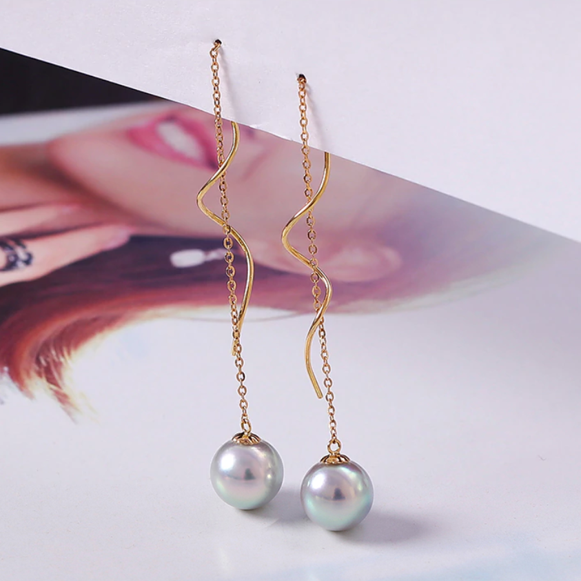 18k Gold Long-Curved Drop Earrings with Akoya Hanadama Pearl
