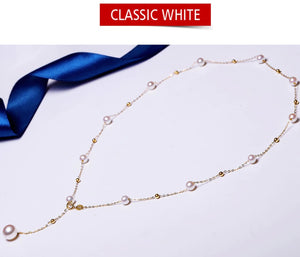 18k Gold Adjustable Freshwater Pearls Necklace