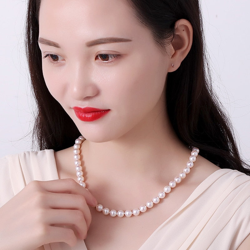 White Japanese Akoya Pearl Necklace 8-8.5 mm