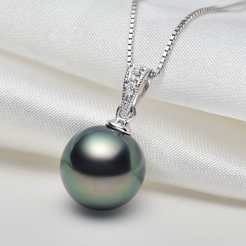 18K Gold Diamond and Tahitian Pearl Pendant