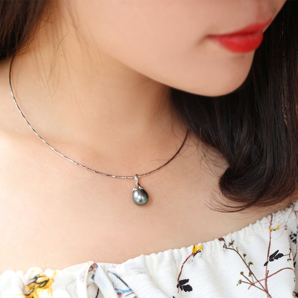 925 Silver Water-Drop Tahitian Pearl Round Necklace