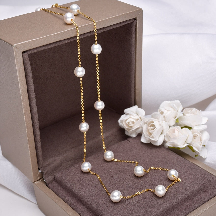 18K Gold White Freshwater Pearls Necklace/Bracelet 5mm