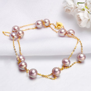 18K Gold Purple Freshwater Pearls Necklace/Bracelet 6mm