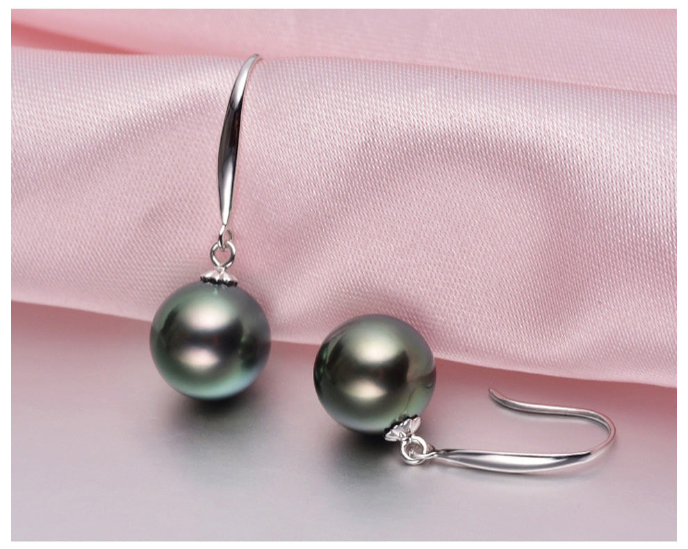 18K White Gold Tahitian Pearl Simple Drop Earrings