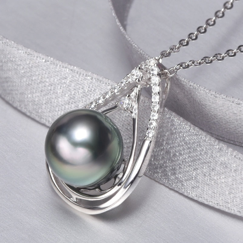 925s Silver Tahitian Pearl CZ Diamonds Necklace