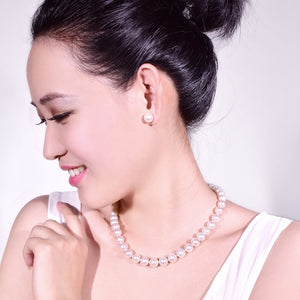 Genuine Round Freshwater Pearl Necklace 9-10 mm