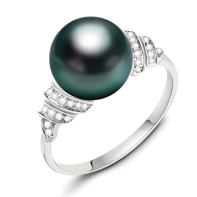 18k Gold CZ Diamond Tahitian Pearl Engagement Ring