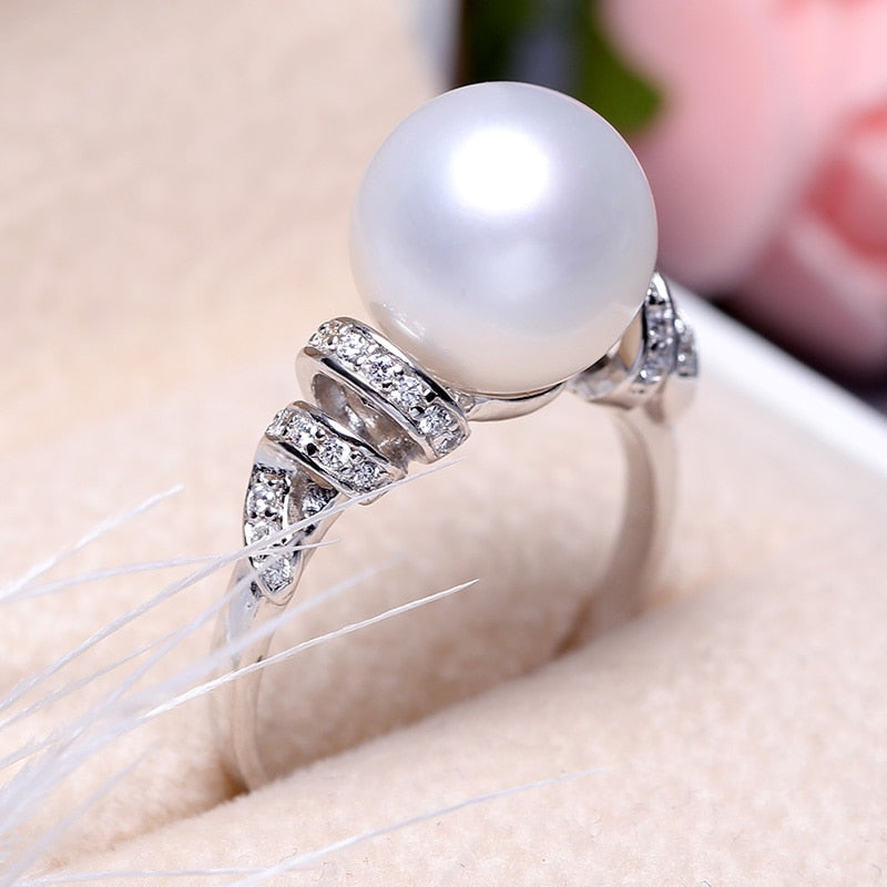 925 Silver Freshwater Pearl Engagement Ring