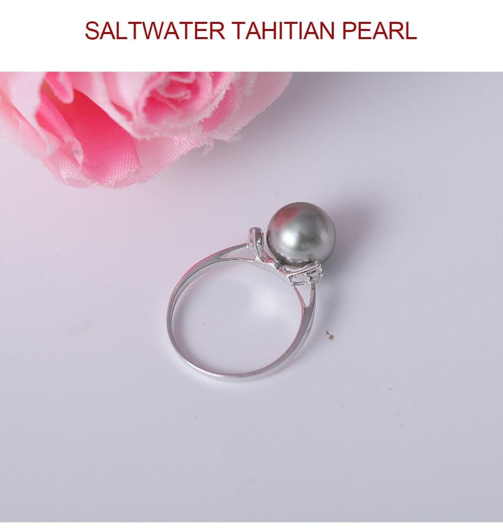 925 Sterling Silver Tahitian Pearl Ring 9-10 mm