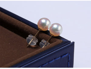 18k Gold White Freshwater Pearl Stud Earrings