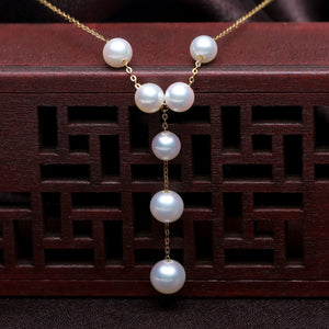 18K Gold Akoya Pearls in Y Design Necklace 6.5mm