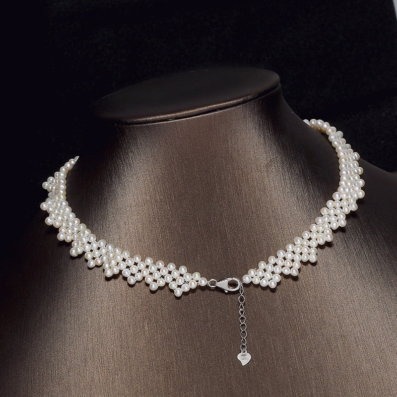 925 Silver White Freshwater Pearl Hand-knitted Necklace