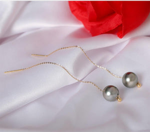 18K Gold Tahitian Pearl Threader Earrings 8-10mm