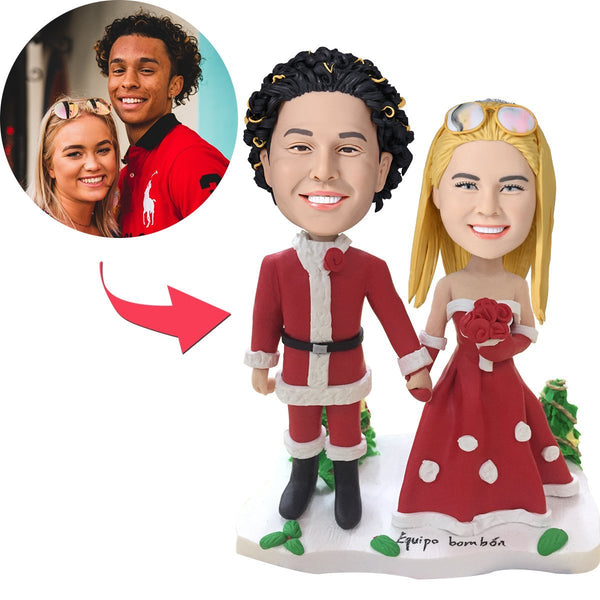 Custom Christmas Gift Bride and Groom Bobbleheads