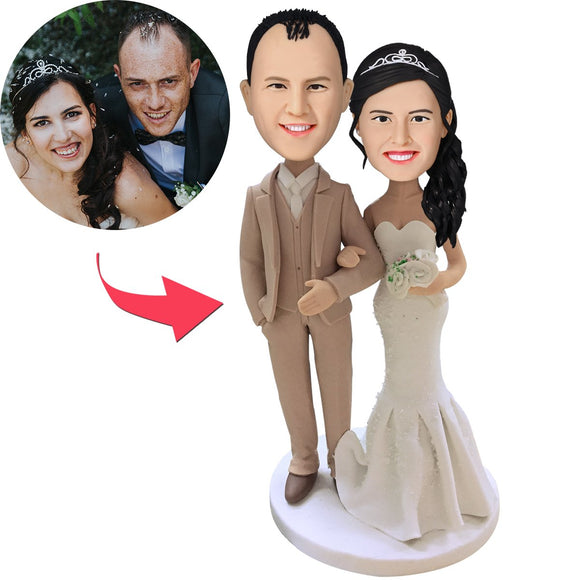 Custom Wedding With Creamy White Suit Bobbleheads With Engraved Text