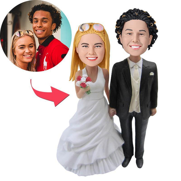 Custom Wedding With Black Suit Bobbleheads
