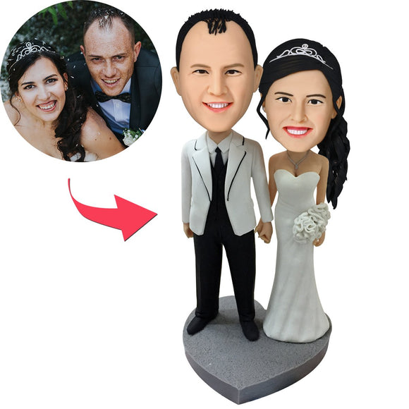 Custom Sweet Wedding Bobbleheads With Engraved Text