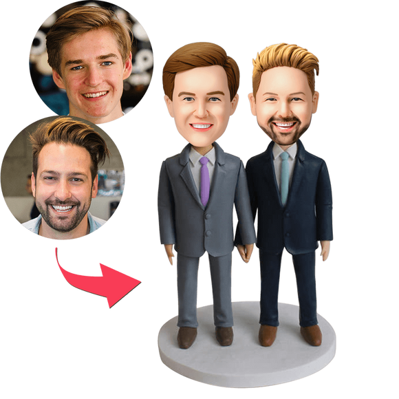 Custom Same-sex Male Couple Bobbleheads With Engraved Text